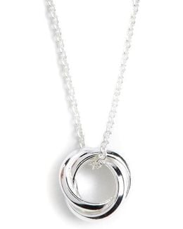 Sterling Silver Three-circle Pendant Necklace