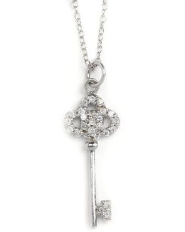 Cubic Zirconia And Sterling Silver Key Pendant Necklace