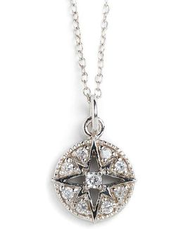 Sterling Silver And Cubic Zirconia Compass Pendant Necklace
