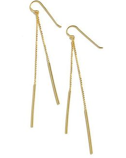 18k Gold Over Sterling Silver Linear Drop Earrings