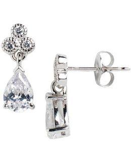 Sterling Silver And Cubic Zirconia Teardrop Drop Earrings