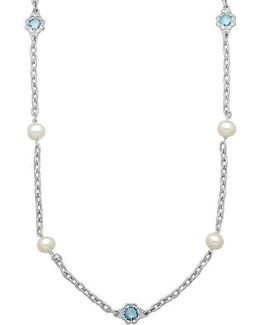 Sterling Silver Pearl And Blue Topaz Station Necklace