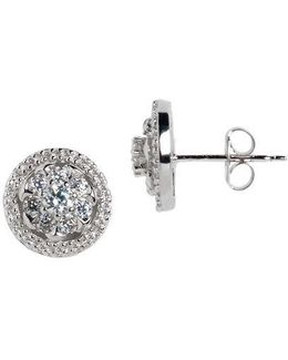 Sterling Silver And Cubic Zirconia Halo Stud Earrings