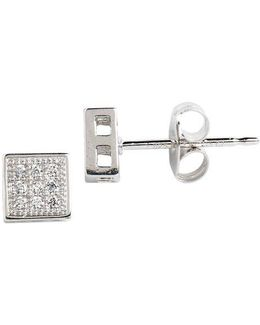 Sterling Silver And Cubic Zirconia Pave Square Stud Earrings