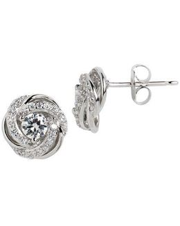 Sterling Silver And Cubic Zirconia Swirl Flower Stud Earrings