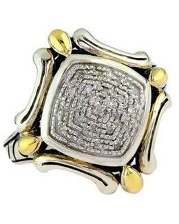 Balissima Sterling Silver With 18 Kt. Yellow Gold Diamond Ring