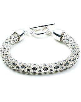 Silvertone Crystallized Tubular Bracelet