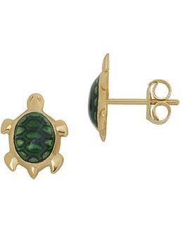 14k Yellow Gold Enamel Turtle Earrings