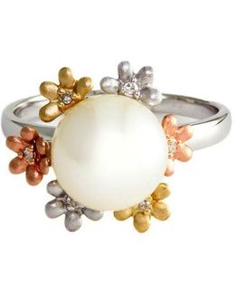 14kt White Yellow And Rose Gold Freshwater Pearl Ring With Diamond Accents