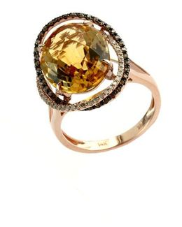 Apricot Rose 14kt. Rose Gold And Citrine Ring With Diamond Accents