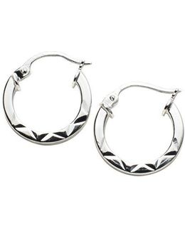 Sterling Silver Etched Hoop Earrings