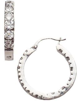 Channel Set Cubic Zirconia Sterling Silver Hoop Earrings