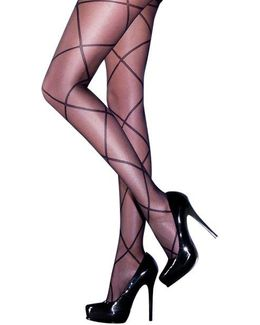 Sheer Diamond Lace Up Tights