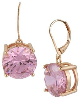 Rose Goldtone And Rose Crystal Drop Earrings