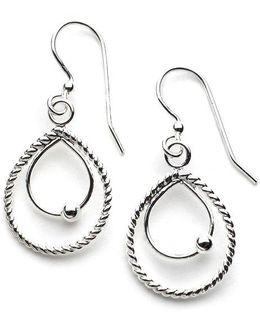 Sterling Silver Double Teardrop Drop Earrings