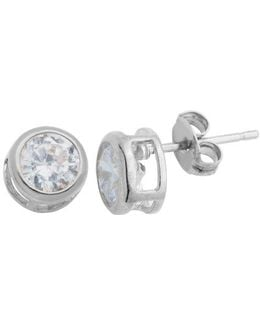 Platinum And Cubic Zirconia Stud Earrings