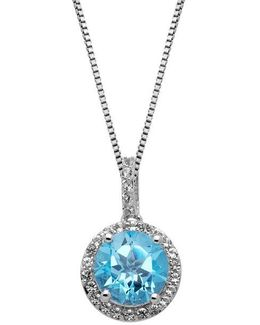 Sterling Silver Blue And White Topaz Pendant