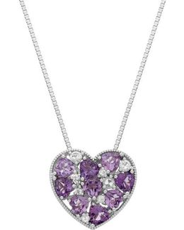 Sterling Silver Multi Amethyst And White Topaz Heart Pendant Necklace