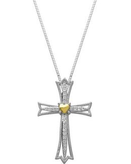 Sterling Silver And 14kt. Yellow Gold White Topaz Cross Pendant Necklace