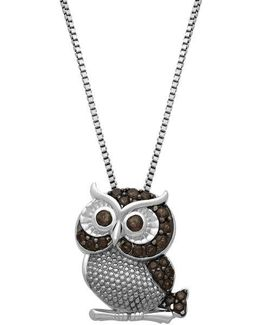 Sterling Silver Smokey Quartz Owl Pendant Necklace
