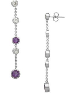 Sterling Silver And Amethyst Drop Earrings With White Topaz Embellishments