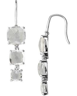 Sterling Silver Drop Earrings With White Quartz And White Topaz