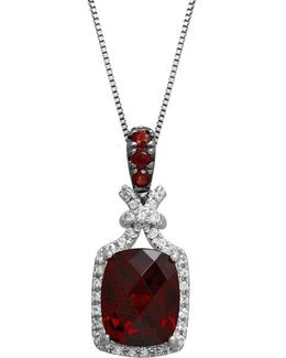 Sterling Silver Necklace With Garnet And White Topaz Pendant