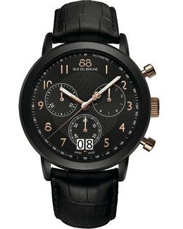 Menâs Chronograph Watch With Leather Strap