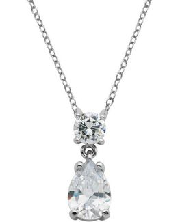 Sterling Silver And Cubic Zirconia Necklace With Teardrop Crystal