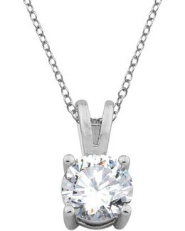 Sterling Silver And Cubic Zirconia Drop Pendant Necklace