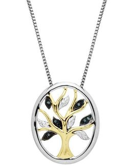 Sterling Silver 14kt. Yellow Gold And Green Diamond Pendant Necklace