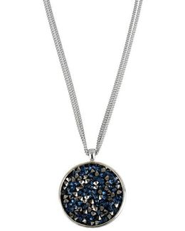 Silver-tone Faceted Bead Round Pendant Necklace