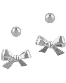 Sterling Silver Ball And Bow Stud Earring Set