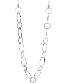 Silver-tone Circle And Oval Link Long Necklace