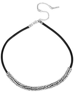 Silver Tone Seed Bead And Leather Necklace