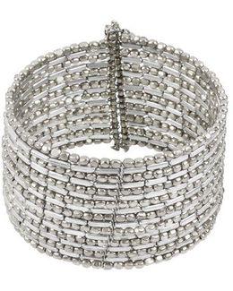 Silvertone Seed Bead Coil Bracelet