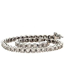 Diamond And Sterling Silver Tennis Bracelet, 1.0 Tcw