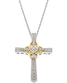 14kt White And Yellow Gold Diamond Cross Pendant Necklace