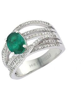 Brasilica 14kt. White Gold Emerald And Diamond Ring