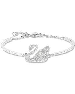 Silvertone Crystallized Swan Bracelet