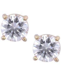 Goldtone Cubic Zirconia Stud Earrings