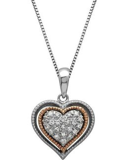 Sterling Silver And 14kt. Rose Gold Diamond Heart Pendant Necklace