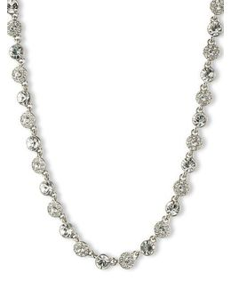 Silvertone And Crystal Collar Necklace