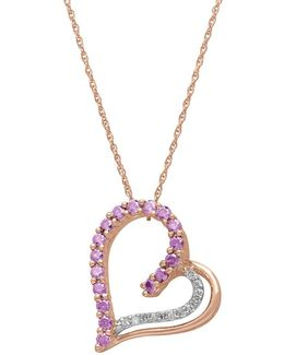 14kt. Rose Gold Diamond And Amethyst Heart Pendant Necklace