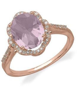 14kt. Rose Gold Diamond And Pink Amethyst Ring