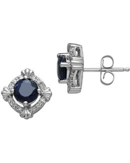 14kt. White Gold Sapphire And Diamond Earrings