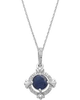14kt. White Gold Sapphire And Diamond Pendant Necklace
