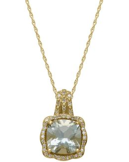 14kt. Yellow Gold Green Amethyst And Diamond Pendant Necklace