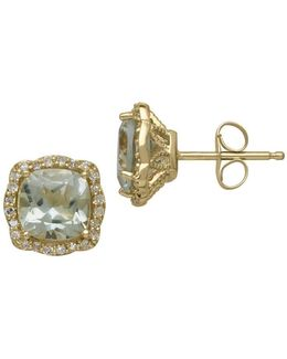 14kt. Yellow Gold Green Amethyst And Diamond Earrings