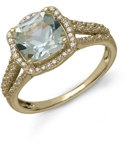 14kt. Yellow Gold Green Amethyst And Diamond Ring